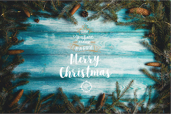 Christmas decarated blue wooden background
